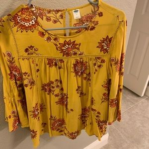 Old Navy Yellow Floral Top
